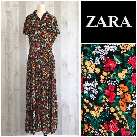 52ac6a2fc959 Zara floral button down long maxi shirt dress L. M_5c43a159df0307f6484b848f
